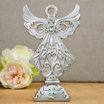 Silver Poly Resin Angel Statue